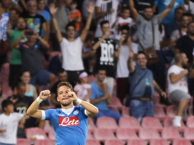 Napoli's Belgian forward Dries Mertens celebrates after scoring during the UEFA Europa League Group D football match SSC Napoli vs Club Brugge KV on September 17, 2015 at the San Paolo Stadium in Naples.