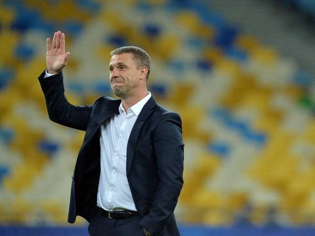 FC Dynamos head coach Serhiy Rebrov gestures before the UEFA Champions League group G football match between FC Dynamo Kiev and FC Porto at Olimpiysky stadium in Kiev on September 16, 2015