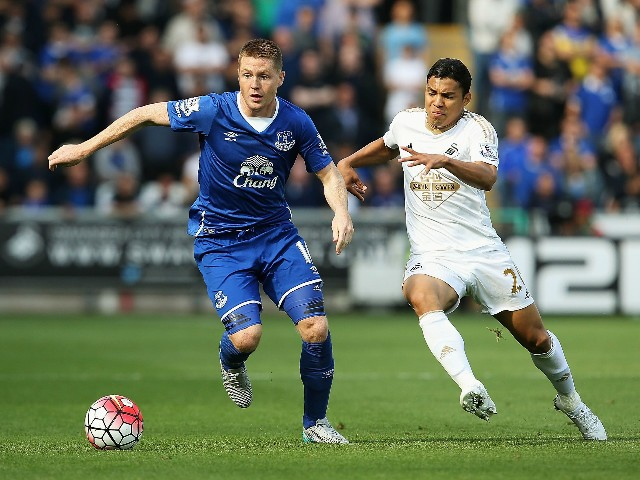 James McCarthy of Everton and sw29 compete for the ball during the Barclays Premier League match between Swansea City and Everton at the Liberty Stadium on September 19, 2015 in Swansea, United Kingdom.