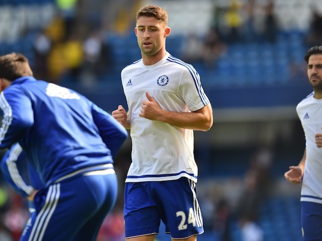 Gary Cahill warms up prior to Chelsea's game with Arsenal at Stamford Bridge on September 19, 2015