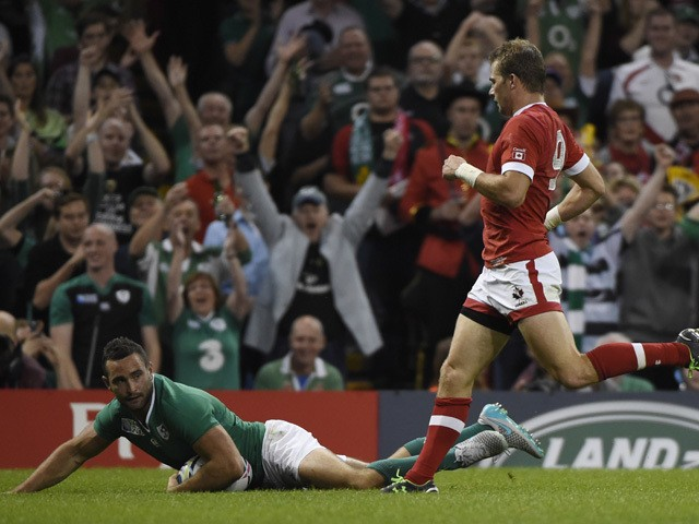 Ireland's wing Dave Kearney scores a try during a Pool D match of the 2015 Rugby World Cup between Ireland and Canada at the Millenium stadium in Cardiff, south Wales on September 19, 2015