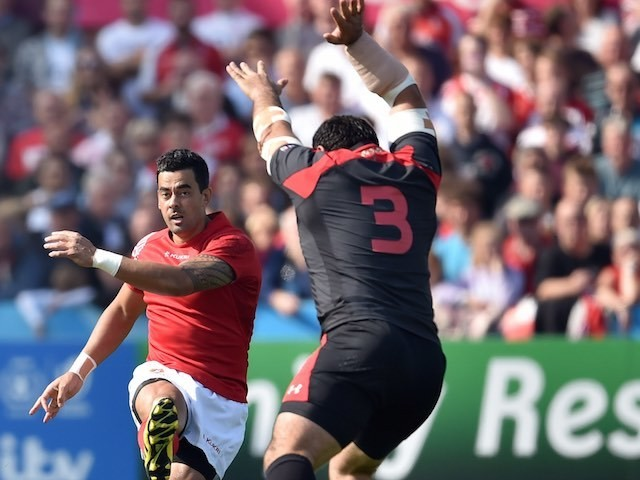 Kurt Morath kicks the ball during the Rugby World Cup game between Tonga and Georgia in Gloucester on September 19, 2015