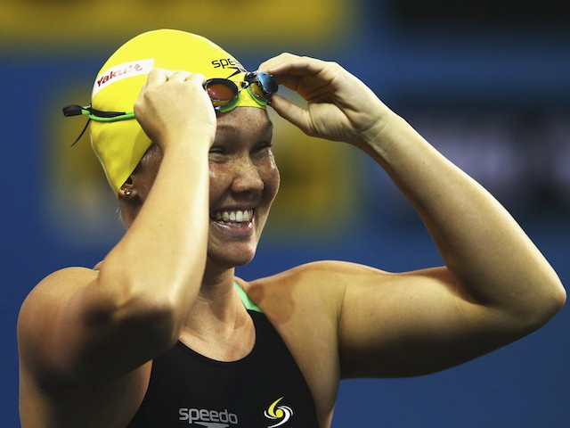 Kylie Palmer of Australia looks on during day three of the 12th FINA World Swimming Championships (25m) at the Hamad Aquatic on December 5, 2014 in Doha, Qatar.