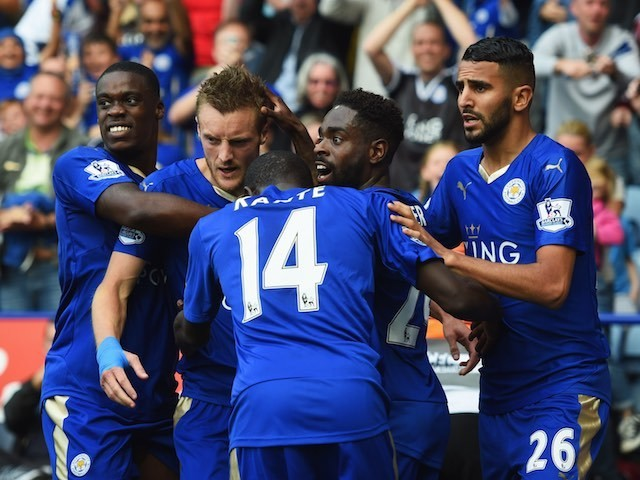 Leicester City players celebrate during their game with Aston Villa on September 13, 2015