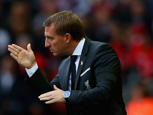 Brendan Rodgers manager of Liverpool gives direction from the touchline during the Barclays Premier League match between Liverpool and Norwich City at Anfield on September 20, 2015