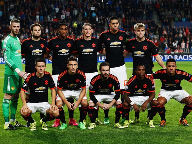 The Manchester United team pose during the UEFA Champions League Group B match between PSV Eindhoven and Manchester United at PSV Stadion on September 15, 2015
