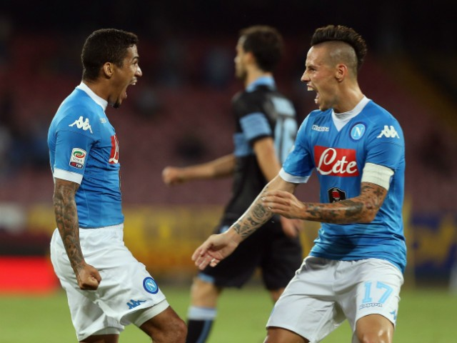 Allan (L) of Napoli celebrates the second goal with his teammate Marek Hamsik during the Serie A match between SSC Napoli and SS Lazio at Stadio San Paolo on September 20, 2015 in Naples, Italy.