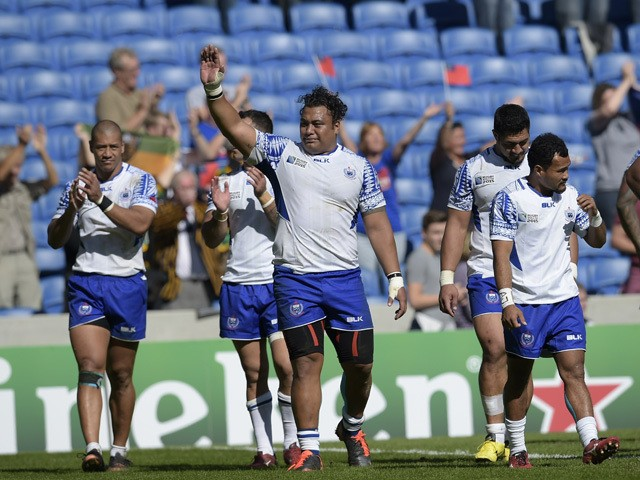 Samoa's players celebrate after a Pool B match of the 2015 Rugby World Cup between Samoa and USA at the Brighton community stadium in Brighton, south east England, on September 20, 2015