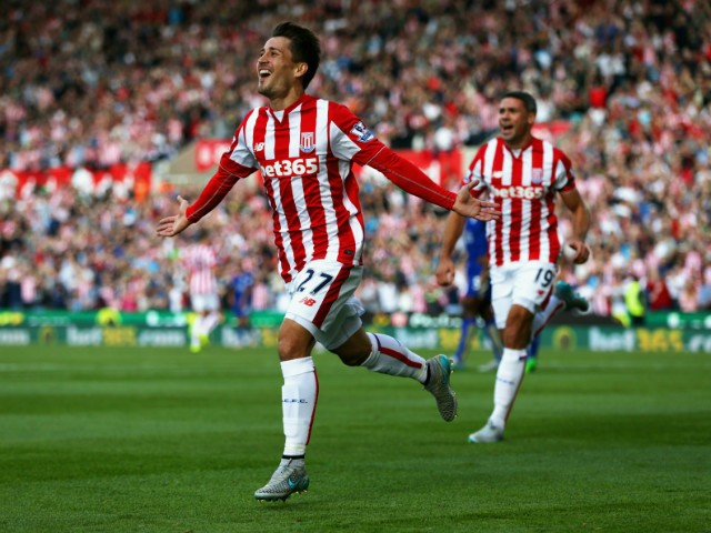 Bojan Krkic of Stoke City celebrates scoring his team's first goal during the Barclays Premier League match between Stoke City and Leicester City at Britannia Stadium on September 19, 2015 in Stoke on Trent, United Kingdom.