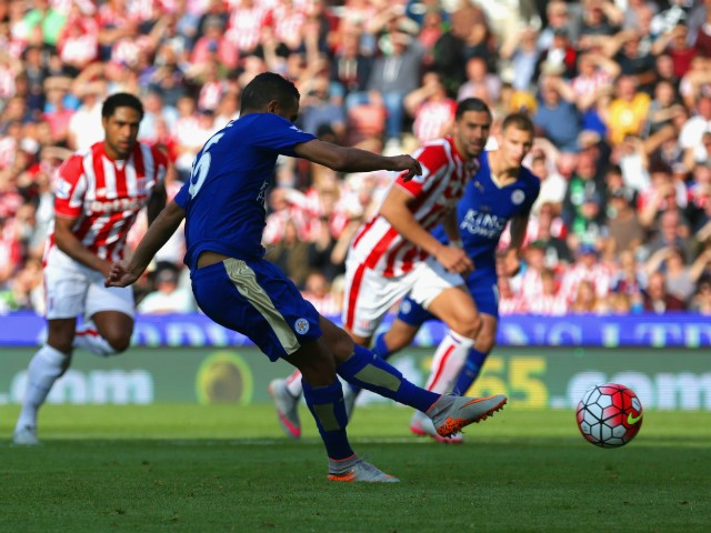 Riyad Mahrez of Leicester City scores his team's first goal from the penalty spot during the Barclays Premier League match between Stoke City and Leicester City at Britannia Stadium on September 19, 2015 in Stoke on Trent, United Kingdom.