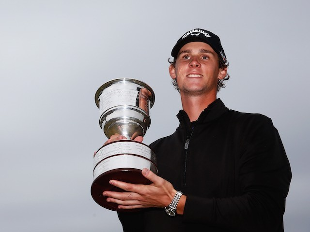 Thomas Pieters celebrates winning the KLM Open on September 13, 2015