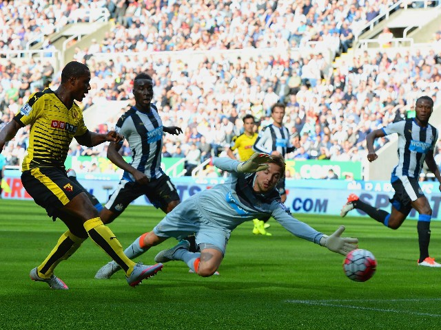 Odion Ighalo of Watford scores his team's second goal during the Barclays Premier League match between Newcastle United and Watford at St James' Park on September 19, 2015 in Newcastle upon Tyne, United Kingdom.