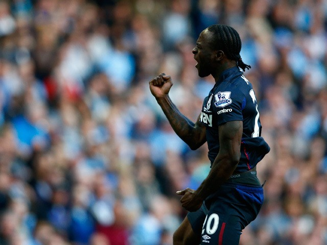 Victor Moses of West Ham United celebrates scoring the opening goal during the Barclays Premier League match between Manchester City and West Ham United at Etihad Stadium on September 19, 2015