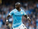 Eliaquim Mangala of Manchester City runs with the ball during the Barclays Premier League match between Manchester City and West Ham United at Etihad Stadium on September 19, 2015