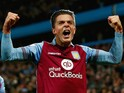 Jack Grealish of Aston Villa celebrates after Rudy Gestede of Aston Villa scored during the Capital One Cup third round match between Aston Villa and Birmingham City at Villa Park on September 22, 2015 in Birmingham, England.