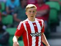 Matt Targett of FC Southampton runs with the ball during the friendly match between FC Groningen and FC Southampton at Euroborg Arena on July 18, 2015 in Groningen, Netherlands.