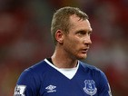 Tony Hibbert of Everton in action during the Barclays Asia Trophy match between Everton and Stoke City at National Stadium on July 15, 2015