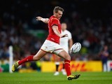 Dan Biggar in action for Wales during the Rugby World Cup game with England on September 26, 2015