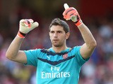 Emiliano Martinez of Arsenal looks on during the Emirates Cup match between Arsenal and Olympique Lyonnais at the Emirates Stadium on July 25, 2015