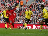 Liverpool's English striker Daniel Sturridge (2nd L) scores his team's third goal during the English Premier League football match between Liverpool and Aston Villa at the Anfield stadium in Liverpool, north-west England on September 26, 2015.