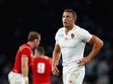 Sam Burgess in action for England during the Rugby World Cup game with Wales on September 26, 2015