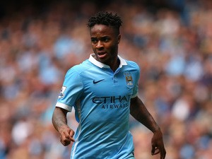 Raheem Sterling of Manchester City during the Barclays Premier League match between Manchester City and Watford at Etihad Stadium on August 29, 2015