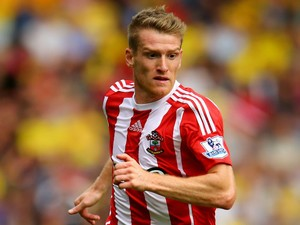 Steven Davis of Southampton in action during the Barclays Premier League match between Watford and Southampton at Vicarage Road on August 23, 2015 in Watford, United Kingdom.