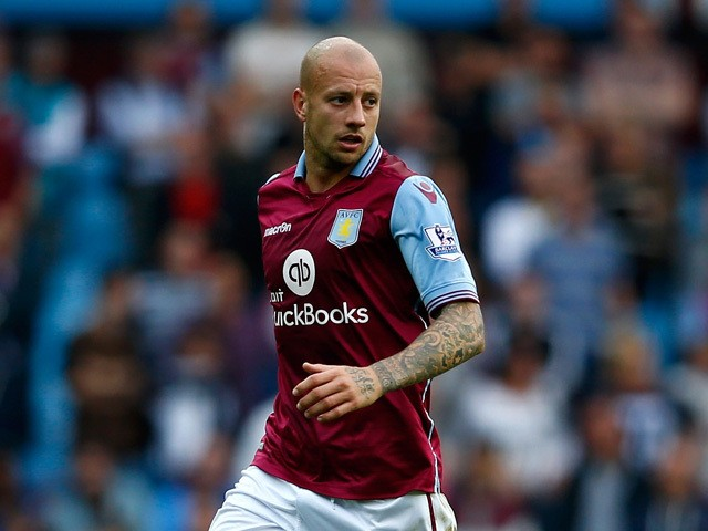 Alan Hutton of Aston Villa in action during the Barclays Premier League match between Aston Villa and West Bromwich Albion at Villa Park on September 19, 2015