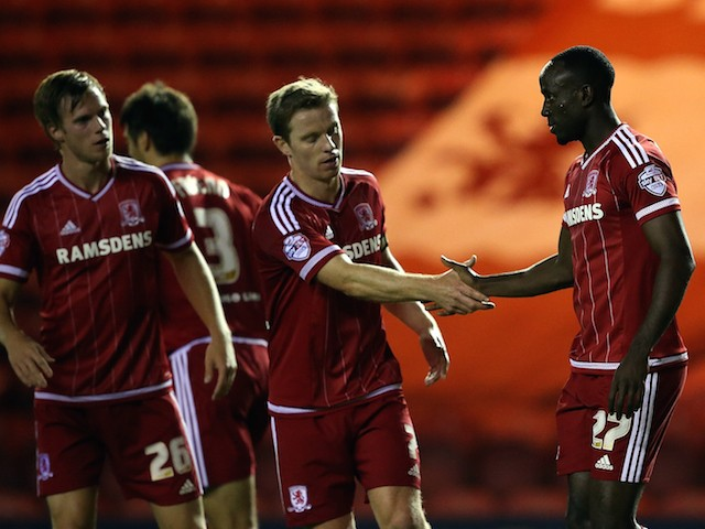 Albert Adomah of Middlesbrough celebrates his goal with team mates during the Capital One Cup third round match between Middlesbrough and Wolverhampton Wanderers at Riverside Stadium on September 22, 2015 in Middlesbrough, England.