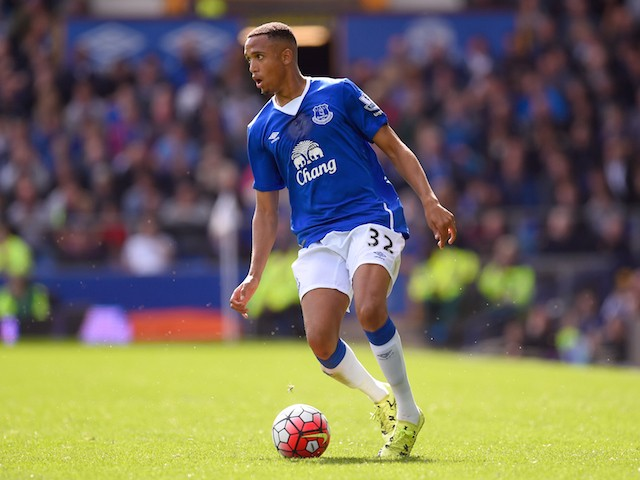 Brendan Galloway of Everton in action during the Barclays Premier League match between Everton and Chelsea at Goodison Park on September 12, 2015 in Liverpool, United Kingdom.