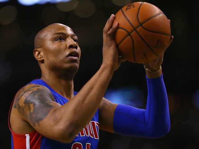 Caron Butler #31 of the Detroit Pistons shoots a free throw during the first quarter at TD Garden on March 22, 2015