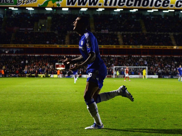 Kenedy of Chelsea celebrates as he scores their third goal during the Capital One Cup third round match between Walsall and Chelsea at Banks's Stadium on September 23, 2015
