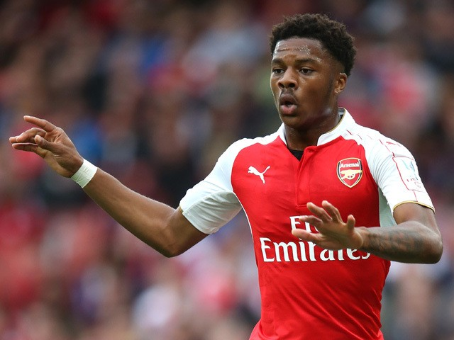 Chuba Akpom of Arsenal looks on during the Emirates Cup match between Arsenal and VfL Wolfsburg at the Emirates Stadium on July 26, 2015