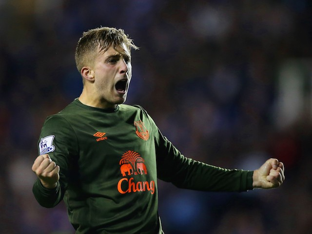 Gerard Deulofeu of Everton celebrates scoring the second goal during the Capital One Cup third round match between Reading and Everton at Madejski Stadium on September 22, 2015 in Reading, England.
