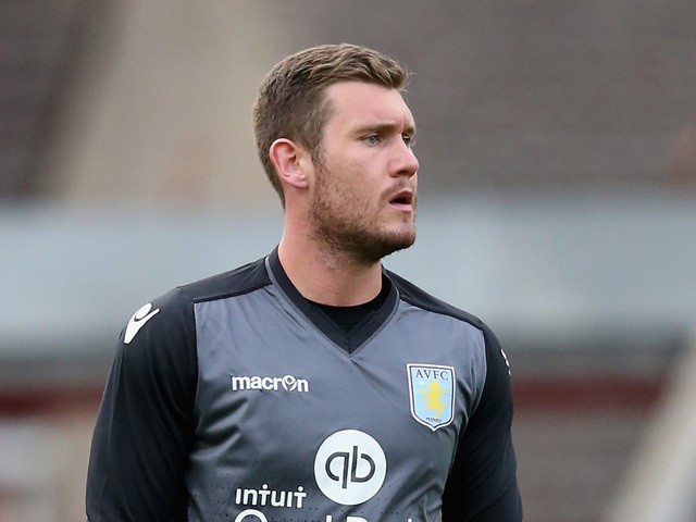 Jed Steer of Aston Villa looks on during the pre season friendly match between Swindon Town and Aston Villa at the County Ground on July 21, 2015