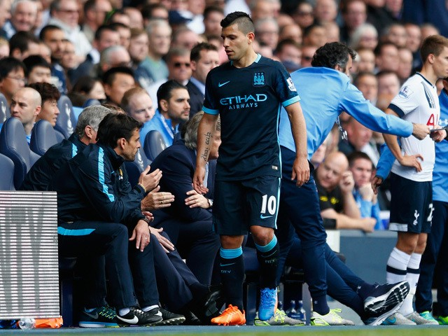 Sergio Aguero of Manchester City is seen after being replaced during the Barclays Premier League match between Tottenham Hotspur and Manchester City at White Hart Lane on September 26, 2015
