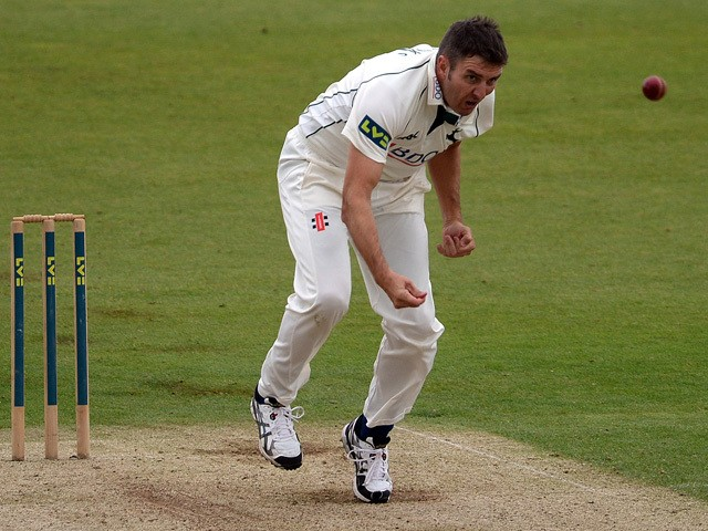 Paul Franks of Nottinghamshire bowls during day one of the LV County Championship Division One match between Durham and Nottinghamshire at the Emirates ICG Stadium on September 17, 2013