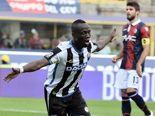Emmanuel Badu # 7 of Udinese Calcio celebrates after scoring a goal during the Serie A match between Bologna FC and Udinese Calcio at Stadio Renato Dall'Ara on September 27, 2015