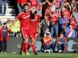 Middlesbrough's David Nugent celebrates with goalscorer of goal number three, Middlesbrough's Diego Fabbrini, during the Sky Bet Championship match between Middlesbrough and Leeds United at the Riverside on September 27, 2015
