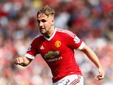 Luke Shaw of Manchester United in action during the Barclays Premier League match between Manchester United and Newcastle United at Old Trafford on August 22, 2015 in Manchester, United Kingdom.