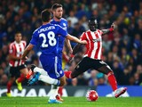 Sadio Mane of Southampton scores his team's second goal during the Barclays Premier League match between Chelsea and Southampton at Stamford Bridge on October 3, 2015 in London, United