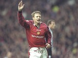 Teddy Sheringham of Manchester United celebrates a goal during the FA Carling Premiership match against Sheffield Wednesday at Old Trafford in Manchester, England. Manchester United won the match 6-1.