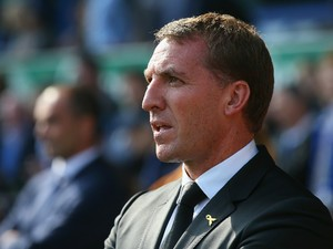 Brendan Rodgers manager of Liverpool looks on during the Barclays Premier League match between Everton and Liverpool at Goodison Park on October 4, 2015 in Liverpool, England.