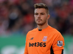 Jack Butland of Stoke City during the Barclays Premier League match between Stoke City and Bournemouth on September 26, 2015