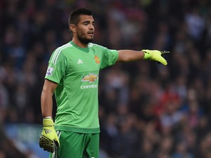 Sergio Romero of Manchester United gestures during the Barclays Premier League match between Aston Villa and Manchester United at Villa Park on August 14, 2015 in Birmingham, United Kingdom.