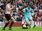 Carl Jenkinson of West Ham United scores his team's first goal during the Barclays Premier League match between Sunderland and West Ham United at the Stadium of Light in Sunderland on October 3, 2015