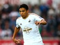 Jefferson Montero of Swansea in action during the Barclays Premier League match between Swansea City and Tottenham Hotspur at Liberty Stadium on October 4, 2015