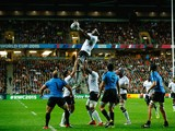 Apisalome Ratuniyarawa of Fiji wins lineout ball during the 2015 Rugby World Cup Pool A match between Fiji and Uruguay at Stadium mk on October 6, 2015 in Milton Keynes, United Kingdom.