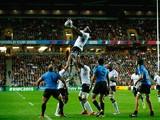Apisalome Ratuniyarawa of Fiji wins lineout ball during the 2015 Rugby World Cup Pool A match between Fiji an
