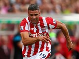 Jonathan Walters of Stoke City in action during the Barclays Premier League match between Stoke City and Liverpool at Britannia Stadium on August 9, 2015 in Stoke on Trent, England